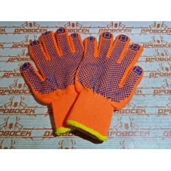 Перчатки трикотажные ЗУБР утепленные с защитой от скольжения, 10 класс, акрил, сигнальный цвет, S-M / 11464-S