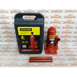 Домкрат гидравлический бутылочный STAYER RED FORCE Professional, в кейсе (4 тонны + высота: от 195 до 380 мм) / 43160-4-К