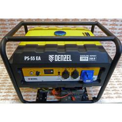 Генератор бензиновый Denzel PS 55 EA, 5.5 кВт, 230 В, 25 л, коннектор автоматики, электростартер / 946874