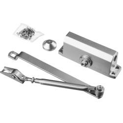 Доводчик дверной STAYER, для дверей массой до 80 кг, цвет серебро / 37915-80