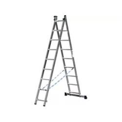 Лестница алюминиевая универсальная СИБИН двухсекционная со стабилизатором, 2х9 ступеней / 38823-09