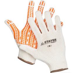 Перчатки STAYER трикотажные с защитой от скольжения, EXPERT, 10 класс, х/б, S-M / 11401-S