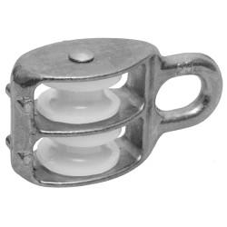 Блок ЗУБР двойной оцинкованный, нейлоновый шкив,  9x40 мм, ТФ5, 3 шт. / 4-304595-40