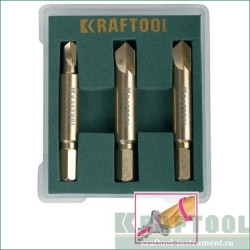 Набор экстракторов KRAFTOOL для поврежденного крепежа из 3 предметов, PH1/PZ1, PH2/PZ2, PH3/PZ3 /  26770-H3