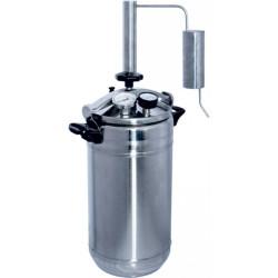 """Автоклав-стерилизатор «Домашний погребок» 2 в 1 (22л нержавеющя сталь, манометр, термометр, клапан сброса избыточного давления + надстройка  """"Классик-Аромат"""" для самогоноварения)"""