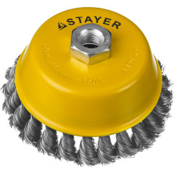 Щетка чашечная для УШМ STAYER, PROFI, плетеные пучки стальной проволоки 0.5 мм, 100 мм/М14 / 35128-100_z01