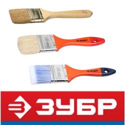 Кисти плоские с деревянной ручкой (Зубр, Россия)