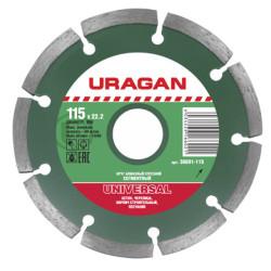 Диск отрезной алмазный сегментный 180 мм,  URAGAN  / 36691-180