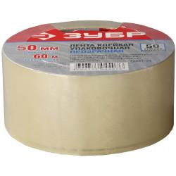 Скотч / Лента клеящая ЗУБР прозрачная, усиленная прочность (ширина 50 мм + длина 60 м + 50 мк) / 12031-50