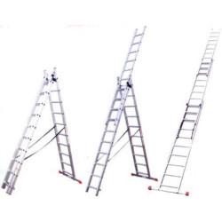 Лестница универсальная трехсекционная со стабилизатором, алюминиевая 3*9 ступеней + высота 588 см / 38833-09
