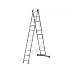 Лестница алюминиевая универсальная СИБИН двухсекционная со стабилизатором, 2х11 ступеней / 38823-11