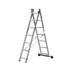 Лестница алюминиевая универсальная СИБИН двухсекционная со стабилизатором, 2х7 ступеней / 38823-07