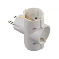 Тройник (разветвитель) СВЕТОЗАР электрический с заземлением, 3 гнезда / SV-55093