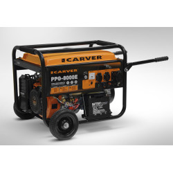 Генератор бензиновый Carver PPG-8000E (8 кВт + электропуск + аккумулятор + ручки и колеса)