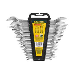 Набор ключей гаечных рожковых KRAFTOOL, EXPERT, ГОСТ 2838-80, DIN 3110, Cr-V, хром, 8-24 мм, 8 шт. / 27033-H8C