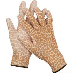 Перчатки садовые GRINDA, прозрачное полиуретановое покрытие, 13 класс вязки, с рисунком, S / 11292-S