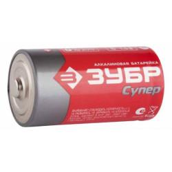 """Батарейка ЗУБР """"СУПЕР"""" щелочная (алкалиновая), тип D, 1.5 В, 2 шт. на карточке / 59217-2C"""