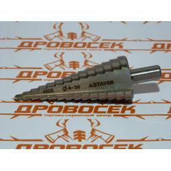 Сверло по металлу ступенчатое STAYER, 29660-4-30-14, серия MASTER, быстрорежущая сталь, Ø4-30/100 мм, 14 ступеней, трехгранный хвостовик 10 мм