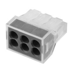 Клемма СВЕТОЗАР соединительная 6-проводная, 400 В, 24 А, 0.75-2.5 мм2, 2 шт. / 49170-6