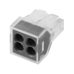 Клемма СВЕТОЗАР соединительная 4-проводная, 400 В, 24 А, 0.75-2.5 мм2, 2 шт. / 49170-4