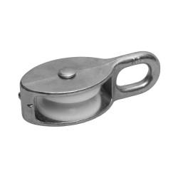 Блок ЗУБР одинарный оцинкованный, нейлоновый шкив, 7x25 мм, ТФ5, 8 шт. / 4-304585-25
