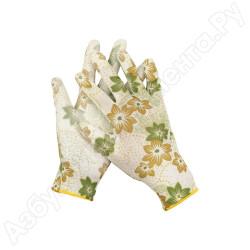 Перчатки садовые GRINDA, прозрачное полиуретановое покрытие, 13 класс вязки, с рисунком, M / 11293-M