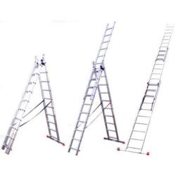 Лестница алюминиевая универсальная СИБИН трехсекционная со стабилизатором, 3х12 ступеней / 38833-12