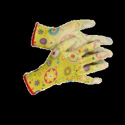 Перчатки садовые GRINDA, прозрачное полиуретановое покрытие, 13 класс вязки, с рисунком, S / 11290-S