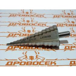 Сверло по металлу ступенчатое STAYER, 29660-4-39-14, серия MASTER, быстрорежущая сталь, Ø4-39/113 мм, 14 ступеней, трехгранный хвостовик 10 мм