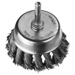 Щетка чашечная для дрели DEXX со шпилькой, жгутированная стальная проволока 0.5 мм, 75 мм / 35111-075
