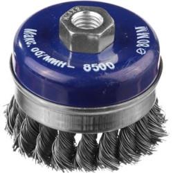 Щетка чашечная для УШМ DEXX усиленная, бандажное кольцо, жгутированная 0.5 мм, 125 мм/М14 / 35106-125
