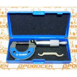 Микрометр ЗУБР, механический с термозащитой и трещеткой (0-25 мм) / 34480-25