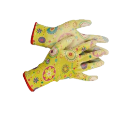Перчатки садовые GRINDA, прозрачное полиуретановое покрытие, 13 класс вязки, с рисунком, M / 11290-M