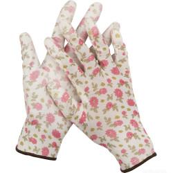 Перчатки садовые GRINDA, прозрачное полиуретановое покрытие, 13 класс вязки, с рисунком, M / 11291-M