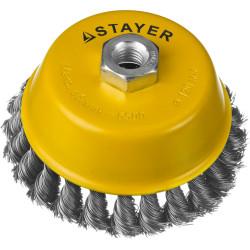 Щетка чашечная для УШМ STAYER, PROFI, плетеные пучки стальной проволоки 0.5 мм, 120 мм/М14 / 35128-120