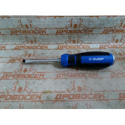 """Отвертка ударная, сквозной Cr-V стержень, SL5 x 75 мм, усилитель под ключ, магнитный наконечник, двухкомп. рукоятка, ЗУБР Профессионал, """"УДАРНИК"""" / 25271-5"""