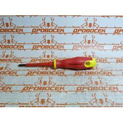 Отвертка крестовая диэлектрическая STAYER ELECTRO, PROFI, до 1000 В, PH1x80 мм / 25142-1-08