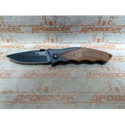 """Нож ЗУБР """"ПРЕМИУМ"""" СТРЕЛЕЦ складной универсальный, металлическая рукоятка с деревянными вставками, 185мм/лезвие 80мм / 47711"""