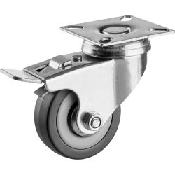 Колесо поворотное с тормозом d=50 мм, г/п 35 кг, резина/полипропилен, ЗУБР / 30956-50-B