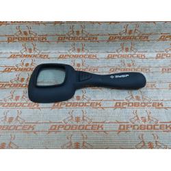 """Лупа ЗУБР квадратная, """"Мастер"""", светодиодная подсветка, 4-кратное увеличение, эргономичная рукоятка, 55 мм / 40550"""