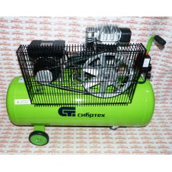 Компрессор воздушный Сибртех КР-2200/100 (2.2 кВт, 350 л/мин, 100 л, ременной привод, масляный) / 58042