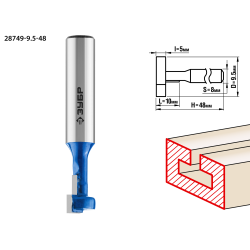 Фреза пазовая Т-образная №1, D= 9,5мм, общая длина-48мм, рабочая длина-10мм, хв.-8 мм, ЗУБР Профессионал / 28749-9.5-48