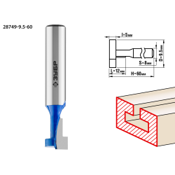 Фреза пазовая Т-образная №1, D= 9,5мм, общая длина-48мм, рабочая длина-12мм, хв.-8 мм, ЗУБР Профессионал / 28749-9.5-60