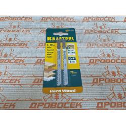 Полотно KRAFTOOL для эл/лобзика, Cr-V сталь, по дереву, ДСП, ДВП, чистый рез, EU-хвост., шаг 4 мм, 75 мм, 2 шт. / 159511-4